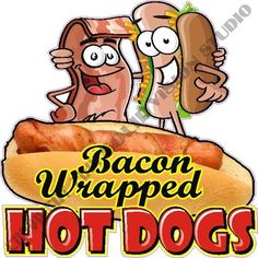 """14"""" Bacon Wrapped Hot Dog Concession Trailer Cart Restaurant Bar Sign Decal  #SolidVisionStudio"""