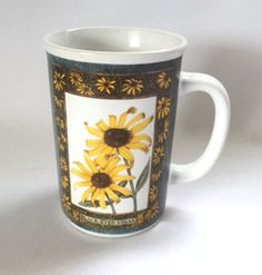 Otagiri Mug Prairie Flowers Floral Black Eyed Susan Vintage 1995 Coffee Cup