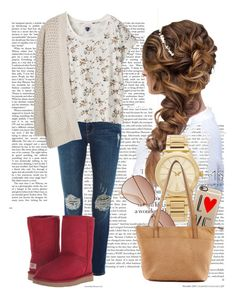 """Red Uggs"" by barbi-osa on Polyvore featuring moda, Frame Denim, Michael Kors, Zoe Tee's, UGG Australia, H&M, Casetify, MANGO, Mary + Marie y LC Lauren Conrad"