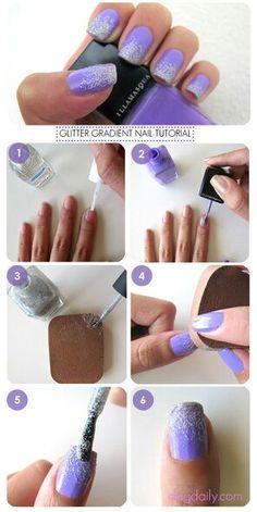Purple Ombre Glitter Nails