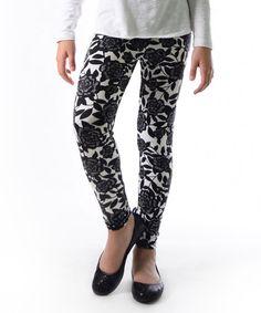 Love this Black & White Lace-Rose Leggings - Kids & Tween on #zulily! #zulilyfinds