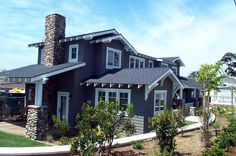 Navy Blue House, with White Trim, & Atone Accents