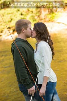 engagement pictures with fishing poles for the groom-to-be who loves fishing