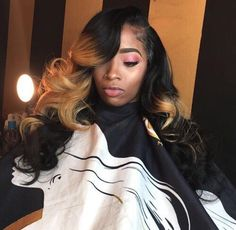 Darlena Body Wave Ombre Hair 3 Bundles 3 Tone Color Human Hair Weave Extensions For Sale Curly Weave Hairstyles, Black Girls Hairstyles, Pretty Hairstyles, Curly Hair Styles, Natural Hair Styles, Hairstyles Pictures, Formal Hairstyles, Hairstyle Ideas, Hair Ideas