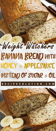Banana bread with honey and applesauce instead of sugar oil loss meals 25 easy meal prep recipes for the entire week Weight Watcher Desserts, Weight Watcher Banana Bread, Weight Watchers Meals, Weight Loss Meals, Healthy Banana Bread, Banana Bread Recipes, Clean Banana Bread, Healthy Cake, Ingredients For Banana Bread