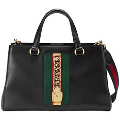 Gucci Sylvie leather top handle bag ($2,165) ❤ liked on Polyvore featuring bags, handbags, black, gucci bags, gucci, chain handbags, leather handbags and embellished purse
