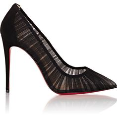 Christian Louboutin Women's Follie Draperia Pumps ($795) ❤ liked on Polyvore featuring shoes, pumps, heels, black, slip on shoes, black high heel shoes, pointy toe pumps, slip-on shoes and black slip on shoes