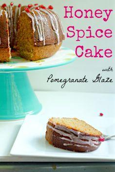 Honey Spice Cake with Pomegranate Glaze- with a secret boozy ingredient!!