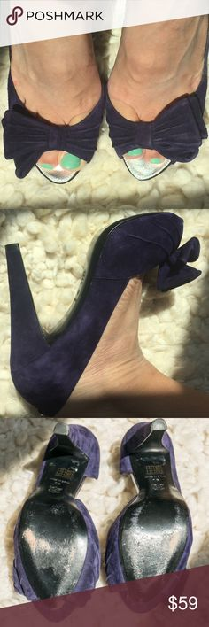 "Karen Millan purple suede heels 4.75"" size 10 Only wore once (see pic of soles)! Great heels for fall!  Open toe style with decorative bows.  Purple suede material. Heel is 4.75"" Karen Millen Shoes Heels"