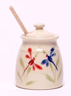 Ceramic Honey Pot - Dragonfly