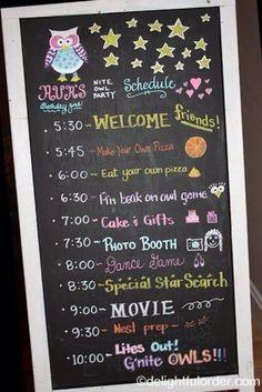 A timeline for a sleep over OR a party? Great idea! | Un horaire routine sommeil peut AUSSI être une bonne idée pour une fête d'enfants!