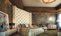 Stilvolle Ideen für Schlafzimmer-Luxus Bettkopfteil deckenhoch gepolstert