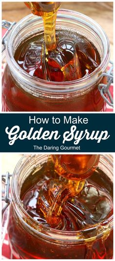 How to Make Golden Syrup - Copycat Recipes - Learn how to make Golden Syrup right at home! This Golden Syrup recipe takes just 3 ingredients, is - Brunch Recipes, Breakfast Recipes, Dessert Recipes, Sweet Recipes, Party Recipes, Vegan Desserts, Kitchen Recipes, Baking Recipes, Syrup Recipes