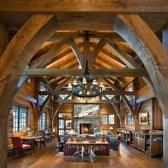 really nice interior done timber frame style Cabin Homes, Log Homes, Quonset Homes, Barn House Plans, Lodge Style, Le Far West, Loft, Beautiful Architecture, Rustic Interiors