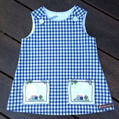 Girls dress gingham check with vintage doily by dreamalittleshoppe
