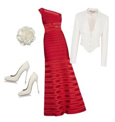 """""""beautiful red"""" by valorierose on Polyvore featuring Hervé Léger, STELLA McCARTNEY, Dsquared2 and Cara"""