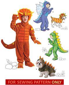 MODÈLE de COSTUME de dinosaure / garçon et chien Costumes / tailles 07:57 / Halloween