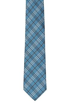 Silk Slim Necktie - Striped pattern in navy blue and turquoise Notch KIppM