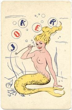 Vintage playing card. I love the Sailor Jerry aesthetic of this card. --Mermaid, card, Sailor Jerry, tattoo, vintage, joker
