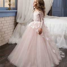 58.05$ Buy here - http://aliexo.worldwells.pw/go.php?t=32761620491 - Fancy Flower Baby Girl Dress Child Long Sleeves Butterfly Pink Mesh Ball Gowns Kids Holy Communion Dresses 1-14 Year Old 2017 58.05$