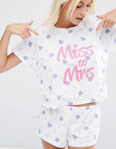 ASOS BRIDAL Miss To Mrs Tee & Short Pajama Set