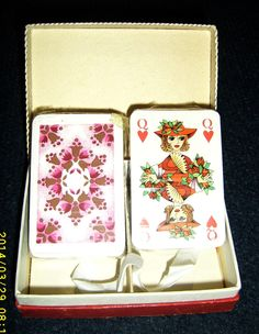 """Two full decks with 52 small playing cards – """"PATIENCE"""", each set includes 3 jokers. by JuliaAntiques on Etsy https://www.etsy.com/listing/206537975/two-full-decks-with-52-small-playing"""
