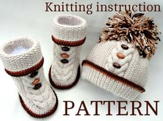 Knitting PATTERN for Babies Knitted Baby Set Baby Shoes Baby