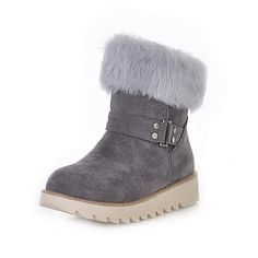 Suede Flat Heel Ankle Boots With Fur Party / Evening Shoes (More Colors)  USD $ 40.49 |Fashion Design Shoes|