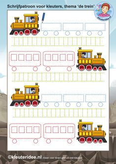 schrijfpatroon voor kleuters 2, thema de trein, kleuteridee.nl, free printable.. Preschool Writing, Craft Activities For Kids, Kindergarten Activities, Infant Activities, Classroom Activities, Learning Activities, Preschool Activities, Tracing Worksheets, Preschool Worksheets