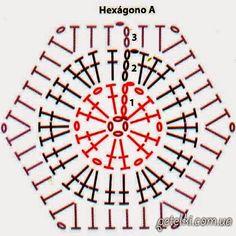 Moldes y patrones de medias tejidas al crochet con grannys hexagonales   Crochet y Dos agujas