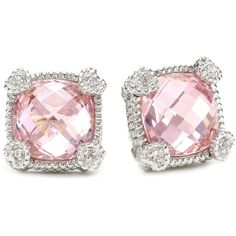 "Judith Ripka ""Linen"" Pink Small Cushion Stone Stud Earrings!"