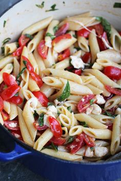 Penne with marinated tomatoes & mozzarella