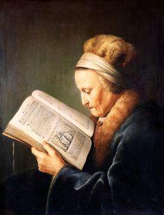 Gerard Dou, Portret van een oude lezende vrouw, ca. 1630-35, olieverf op paneel, 71 x 55.5 cm, Rijksmuseum, Amsterdam.