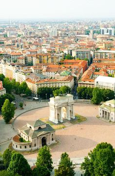 Milan panorama as seen from tower. Park entrance.