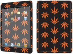Amazon.com: Black + Orange {Marijuana Leaves} Front and Back Full Body Adhesive Vinyl Decal Sticker for iPad Mini 1st Generation Models A1432, A1454 and A1455 (No Air Bubbles - Removable Residue Free Skin}: Computers & Accessories
