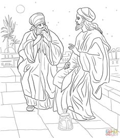 Jesus and Nicodemus | Super Coloring