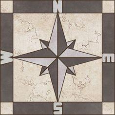 Porcelain Tile Square Compass Rose Mosaic Medallion Flooring Wall Backsplash | eBay