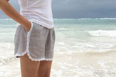 10 Free Woman's Casual Shorts Sewing Patterns: Round-up! - Trimmed with Lace Shorts - from Melly Sews