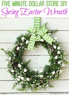 This quick and easy wreath will take you five minutes using supplies mainly from the dollar store and is a beautiful spring easter wreath to dress up your front door or anywhere else in your home that needs a little springy touch.