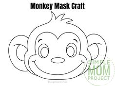 These cute and FREE baby monkey face masks areis perfect for kids of all ages. There's hours of playtime with our full colored and monkey mask coloring sheet! Monkey Coloring Pages, Summer Coloring Pages, Monkey Mask, A Monkey, Preschool Colors, Preschool Kindergarten, Printable Animals, Printable Crafts, Monkey Template