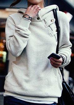Solid Color Long Sleeve Pockets Design Loose Hoodie