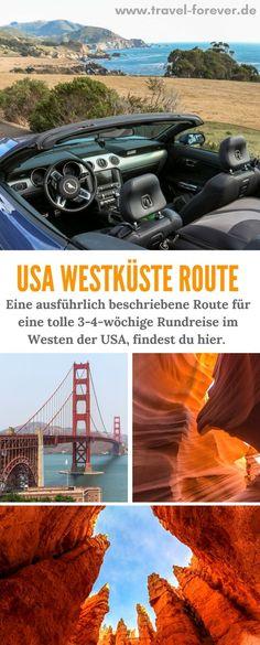 Westküste USA Rundreise - Auf dieser Reiseroute stelle ich die interessantesten Ziele für einen 3-4-wöchigen Roadtrip vor mit Details zu den einzelnen Orten. | Westen | Mietwagen | Amerika | Route | 3 Wochen | 4 Wochen