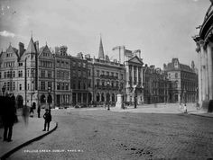 College Green, Dublin, looking south west, c. Dublin Map, Dublin City, Dublin Ireland, Old Pictures, Old Photos, Vintage Photos, Lawrence Photos, Dublin Street, Photo Engraving