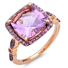 Tycoon.EmarAdmin.com    	Center stone 10mm x 10mm Cushion shape Tycoon Amethyst total weight 4.40ct    	Ring in 18k Rose gold    	Pave set with Amethyst total weight 0.50ct