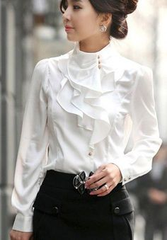 Feminine Victorian Inspired Ivory Ruffles Long Sleeve Blouse