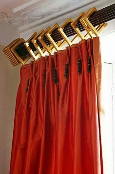 Dramatic use of decorative rod, vibrant fabric - small tassels a nice touch I Linda Chase Associates,London, England Home Curtains, Curtains With Blinds, Drapery Designs, Custom Window Treatments, Window Styles, Passementerie, Drapery Panels, Window Dressings, Window Design