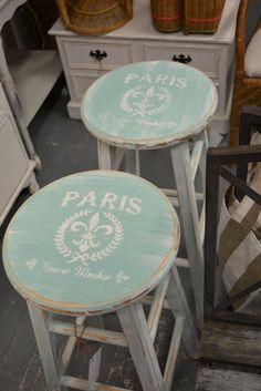 DIY: I have a stool to redo and like the idea of a print on top to add character to an otherwise boring, but functional piece. Perhaps nail heads along the rim of the top on the sides would add a little pizzaz as well... pondering :)