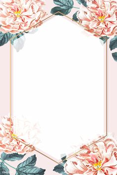 Blooming peony hexagon frame vector | premium image by rawpixel.com / sasi