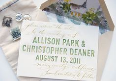 love this marriage of watercolor block lettering collaboration with calligraphy by love jenna design by swiss cottage designs, (watercolor by bride's grandmother – so sweet.