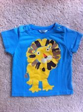 Mini Boden 6-12 Baby Boys Blue Shirt Yellow Lion